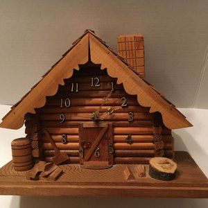 Clock Cabin Cottage Handmade Wooden 12' X 9'
